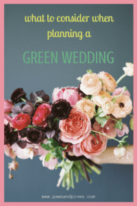 A bouquet of flowers with text overlay: what to consider when planning a green wedding