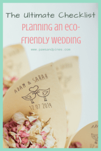 Eco-friendly confetti made from dried flower petals with text overlay: The ultimate checklist - planning an eco-friendly wedding