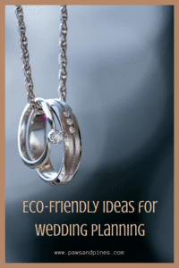 A pair of rings on a silver necklace with text overlay: Eco-friendly ideas for wedding planning