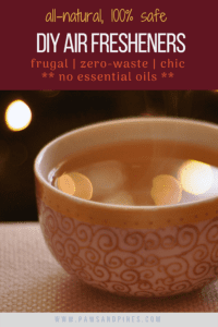 A liquid concoction of boiled cinnamon sticks and orange peels with text overlay: all-natural 100% safe DIY air fresheners - frugal | zero-waste | chic ** no essential oils **