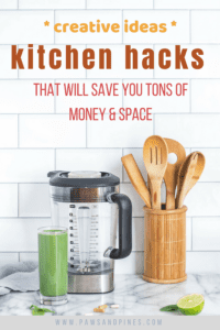 Array of kitchen tools with text overlay: Kitchen Hacks that will save you tons of money and space.