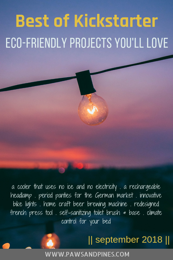 Lightbulb on string with text overlay 'Best of Kickstarter: Eco-Friendly Projects You'll Love - September 2018 with an overview of 8 projects