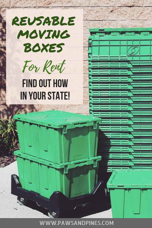 A stack of reusable green moving boxes